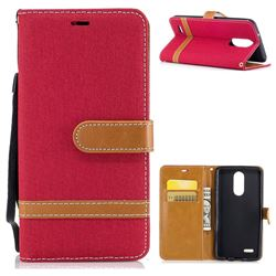 Jeans Cowboy Denim Leather Wallet Case for LG K8 2017 M200N EU Version (5.0 inch) - Red