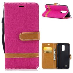 Jeans Cowboy Denim Leather Wallet Case for LG K8 2017 M200N EU Version (5.0 inch) - Rose