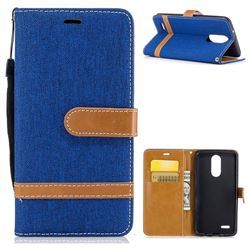 Jeans Cowboy Denim Leather Wallet Case for LG K8 2017 M200N EU Version (5.0 inch) - Sapphire
