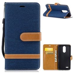 Jeans Cowboy Denim Leather Wallet Case for LG K8 2017 M200N EU Version (5.0 inch) - Dark Blue