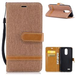 Jeans Cowboy Denim Leather Wallet Case for LG K8 2017 M200N EU Version (5.0 inch) - Brown