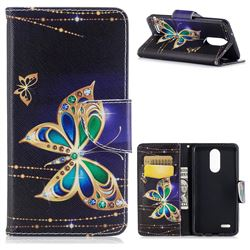 Golden Shining Butterfly Leather Wallet Case for LG K8 2017 M200N EU Version (5.0 inch)