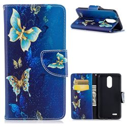 Golden Butterflies Leather Wallet Case for LG K8 2017 M200N EU Version (5.0 inch)