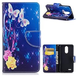 Yellow Flower Butterfly Leather Wallet Case for LG K8 2017 M200N EU Version (5.0 inch)