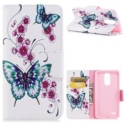 Peach Butterflies Leather Wallet Case for LG K8 2017 M200N EU Version (5.0 inch)