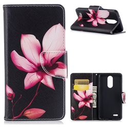Lotus Flower Leather Wallet Case for LG K8 2017 M200N EU Version (5.0 inch)
