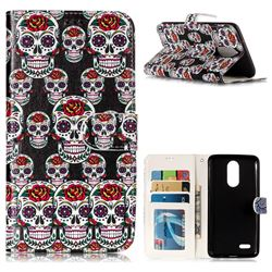 Flower Skull 3D Relief Oil PU Leather Wallet Case for LG K8 2017 M200N EU Version (5.0 inch)