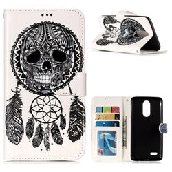 Wind Chimes Skull 3D Relief Oil PU Leather Wallet Case for LG K8 2017 M200N EU Version (5.0 inch)