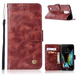 Luxury Retro Leather Wallet Case for LG K8 2017 M200N EU Version (5.0 inch) - Wine Red