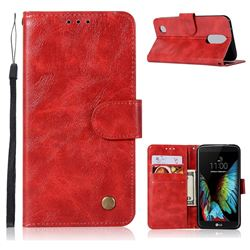Luxury Retro Leather Wallet Case for LG K8 2017 M200N EU Version (5.0 inch) - Red