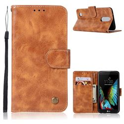 Luxury Retro Leather Wallet Case for LG K8 2017 M200N EU Version (5.0 inch) - Golden