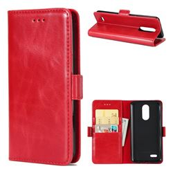 Luxury Crazy Horse PU Leather Wallet Case for LG K8 2017 M200N EU Version (5.0 inch) - Red
