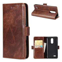 Luxury Crazy Horse PU Leather Wallet Case for LG K8 2017 M200N EU Version (5.0 inch) - Coffee