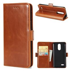 Luxury Crazy Horse PU Leather Wallet Case for LG K8 2017 M200N EU Version (5.0 inch) - Brown