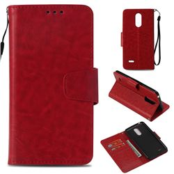 Retro Phantom Smooth PU Leather Wallet Holster Case for LG K8 2017 M200N EU Version (5.0 inch) - Red