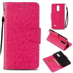 Retro Phantom Smooth PU Leather Wallet Holster Case for LG K8 2017 M200N EU Version (5.0 inch) - Rose