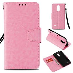 Retro Phantom Smooth PU Leather Wallet Holster Case for LG K8 2017 M200N EU Version (5.0 inch) - Pink