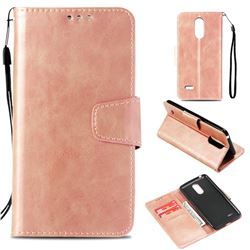 Retro Phantom Smooth PU Leather Wallet Holster Case for LG K8 2017 M200N EU Version (5.0 inch) - Rose Gold