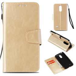 Retro Phantom Smooth PU Leather Wallet Holster Case for LG K8 2017 M200N EU Version (5.0 inch) - Champagne