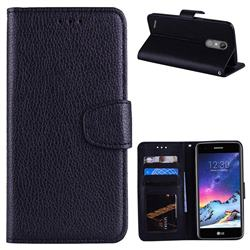 Litchi Pattern PU Leather Wallet Case for LG K8 2017 M200N EU Version (5.0 inch) - Black
