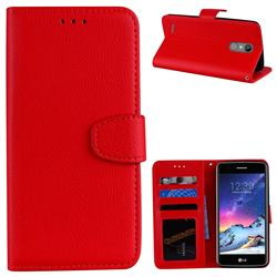 Litchi Pattern PU Leather Wallet Case for LG K8 2017 M200N EU Version (5.0 inch) - Red