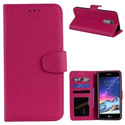 Litchi Pattern PU Leather Wallet Case for LG K8 2017 M200N EU Version (5.0 inch) - Rose