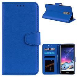 Litchi Pattern PU Leather Wallet Case for LG K8 2017 M200N EU Version (5.0 inch) - Blue