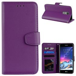 Litchi Pattern PU Leather Wallet Case for LG K8 2017 M200N EU Version (5.0 inch) - Purple