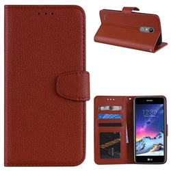 Litchi Pattern PU Leather Wallet Case for LG K8 2017 M200N EU Version (5.0 inch) - Brown