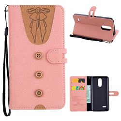 Ladies Bow Clothes Pattern Leather Wallet Phone Case for LG K8 2017 M200N EU Version (5.0 inch) - Pink