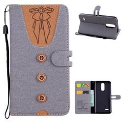 Ladies Bow Clothes Pattern Leather Wallet Phone Case for LG K8 2017 M200N EU Version (5.0 inch) - Gray