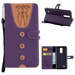 Ladies Bow Clothes Pattern Leather Wallet Phone Case for LG K8 2017 M200N EU Version (5.0 inch) - Purple