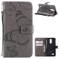 Embossing 3D Butterfly Leather Wallet Case for LG K8 2017 M200N EU Version (5.0 inch) - Gray