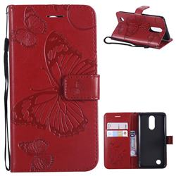 Embossing 3D Butterfly Leather Wallet Case for LG K8 2017 M200N EU Version (5.0 inch) - Red