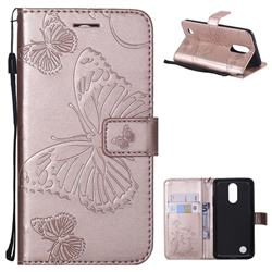Embossing 3D Butterfly Leather Wallet Case for LG K8 2017 M200N EU Version (5.0 inch) - Rose Gold