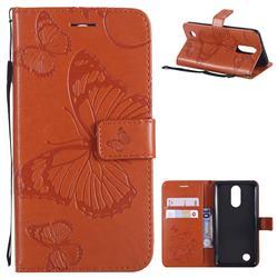 Embossing 3D Butterfly Leather Wallet Case for LG K8 2017 M200N EU Version (5.0 inch) - Orange