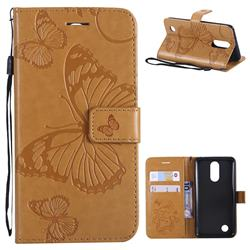 Embossing 3D Butterfly Leather Wallet Case for LG K8 2017 M200N EU Version (5.0 inch) - Yellow