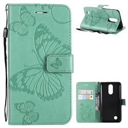 Embossing 3D Butterfly Leather Wallet Case for LG K8 2017 M200N EU Version (5.0 inch) - Green