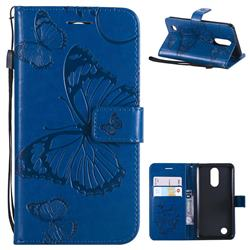 Embossing 3D Butterfly Leather Wallet Case for LG K8 2017 M200N EU Version (5.0 inch) - Blue