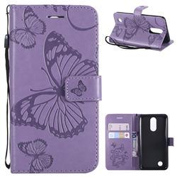 Embossing 3D Butterfly Leather Wallet Case for LG K8 2017 M200N EU Version (5.0 inch) - Purple