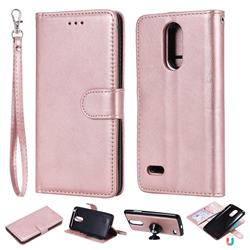 Retro Greek Detachable Magnetic PU Leather Wallet Phone Case for LG K8 2017 M200N EU Version (5.0 inch) - Rose Gold