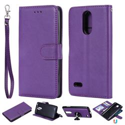 Retro Greek Detachable Magnetic PU Leather Wallet Phone Case for LG K8 2017 M200N EU Version (5.0 inch) - Purple