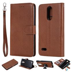 Retro Greek Detachable Magnetic PU Leather Wallet Phone Case for LG K8 2017 M200N EU Version (5.0 inch) - Brown