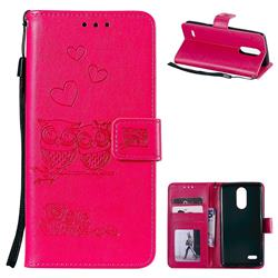 Embossing Owl Couple Flower Leather Wallet Case for LG K8 2017 M200N EU Version (5.0 inch) - Red