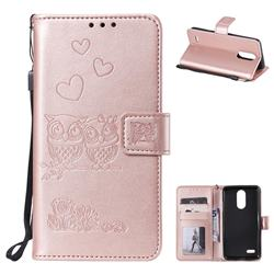Embossing Owl Couple Flower Leather Wallet Case for LG K8 2017 M200N EU Version (5.0 inch) - Rose Gold