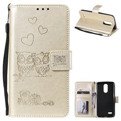 Embossing Owl Couple Flower Leather Wallet Case for LG K8 2017 M200N EU Version (5.0 inch) - Golden