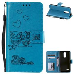 Embossing Owl Couple Flower Leather Wallet Case for LG K8 2017 M200N EU Version (5.0 inch) - Blue