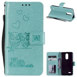 Embossing Owl Couple Flower Leather Wallet Case for LG K8 2017 M200N EU Version (5.0 inch) - Green