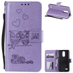 Embossing Owl Couple Flower Leather Wallet Case for LG K8 2017 M200N EU Version (5.0 inch) - Purple