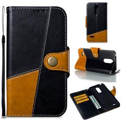 Retro Magnetic Stitching Wallet Flip Cover for LG K8 2017 M200N EU Version (5.0 inch) - Black